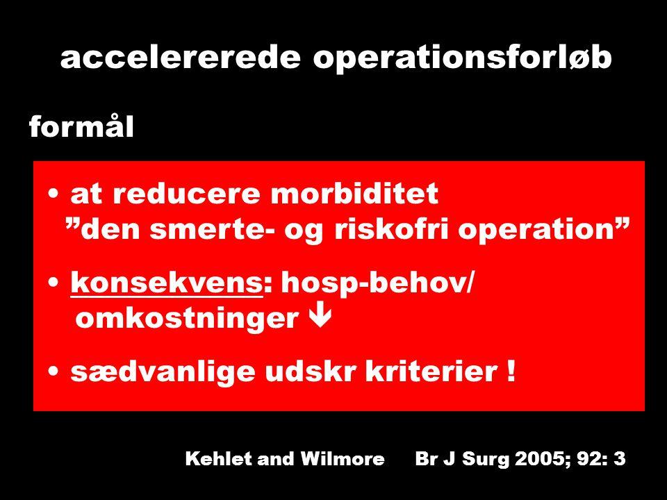 Kehlet and Wilmore Br J Surg 2005; 92: 3 accelererede operationsforløb formål at reducere morbiditet den smerte- og riskofri operation konsekvens: hosp-behov/ omkostninger  sædvanlige udskr kriterier !