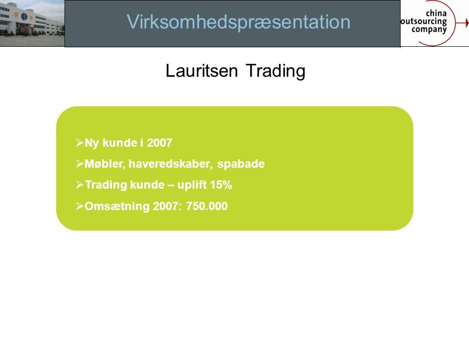Virksomhedspræsentation  Ny kunde i 2007  Møbler, haveredskaber, spabade  Trading kunde – uplift 15%  Omsætning 2007: 750.000 Lauritsen Trading