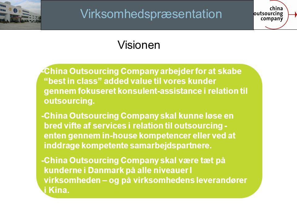 Virksomhedspræsentation -China Outsourcing Company arbejder for at skabe best in class added value til vores kunder gennem fokuseret konsulent-assistance i relation til outsourcing.