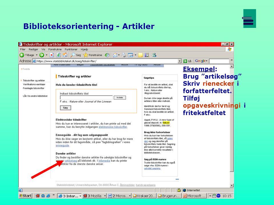 Eksempel: Brug artikelsøg Skriv rienecker i forfatterfeltet.