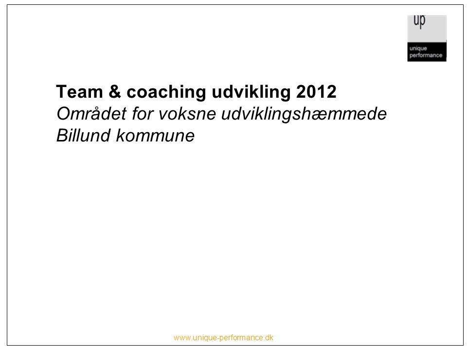 Team & coaching udvikling 2012 Området for voksne udviklingshæmmede Billund kommune www.unique-performance.dk