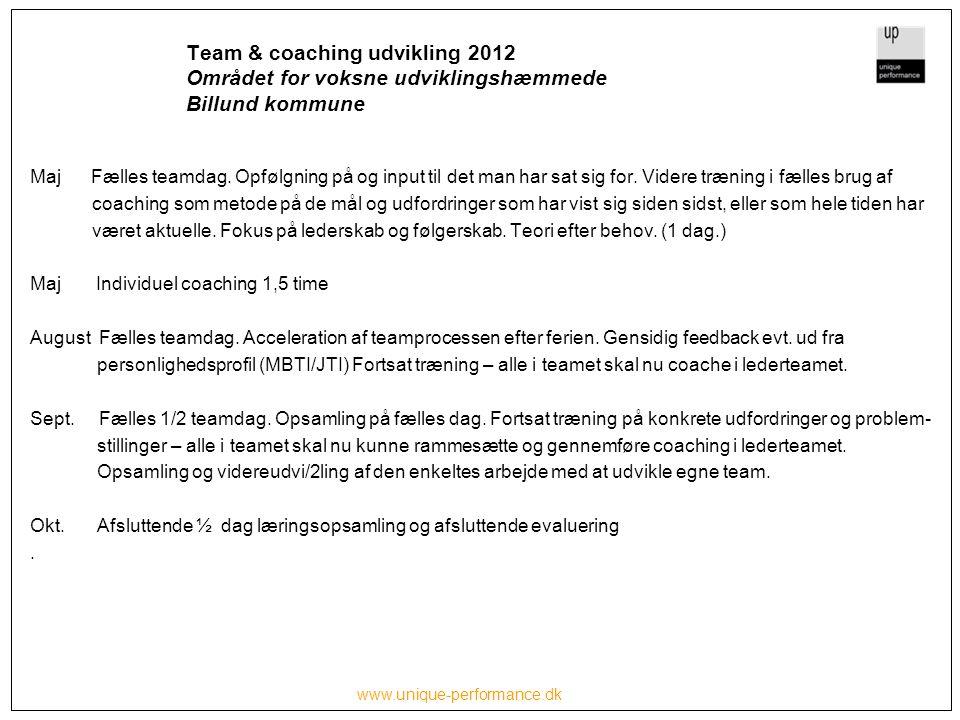 www.unique-performance.dk Team & coaching udvikling 2012 Området for voksne udviklingshæmmede Billund kommune Maj Fælles teamdag.