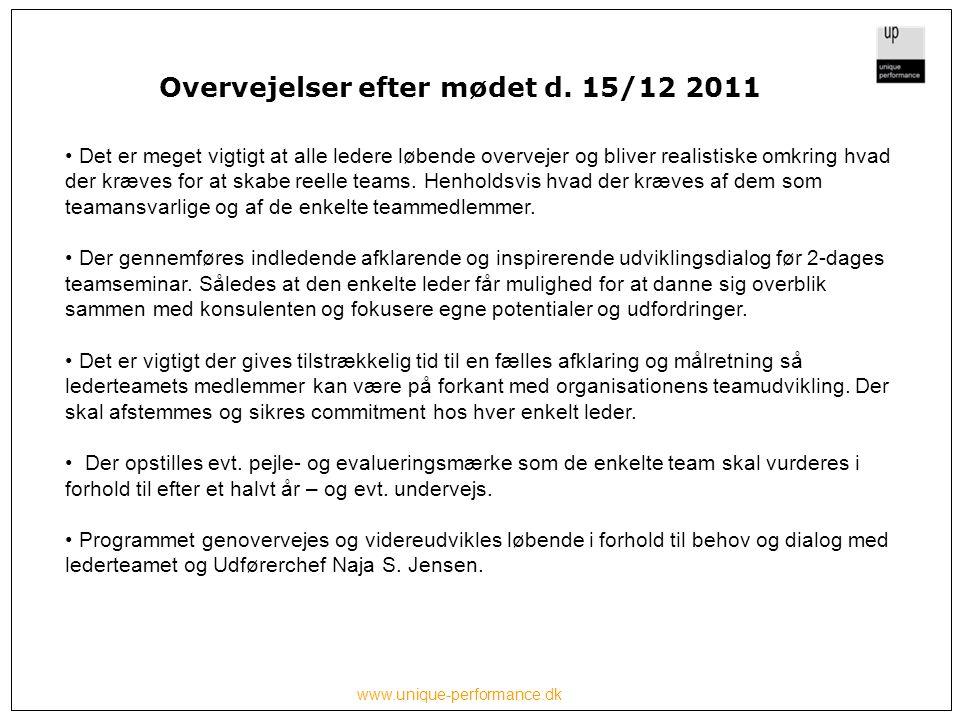 www.unique-performance.dk Overvejelser efter mødet d.