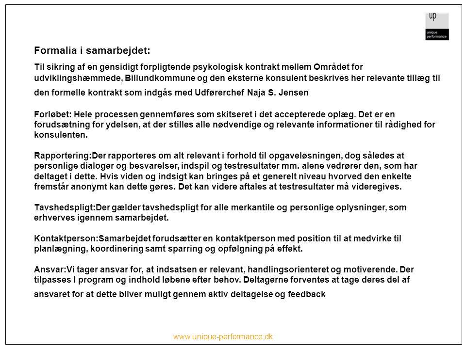 www.unique-performance.dk Formalia i samarbejdet: Til sikring af en gensidigt forpligtende psykologisk kontrakt mellem Området for udviklingshæmmede, Billundkommune og den eksterne konsulent beskrives her relevante tillæg til den formelle kontrakt som indgås med Udførerchef Naja S.