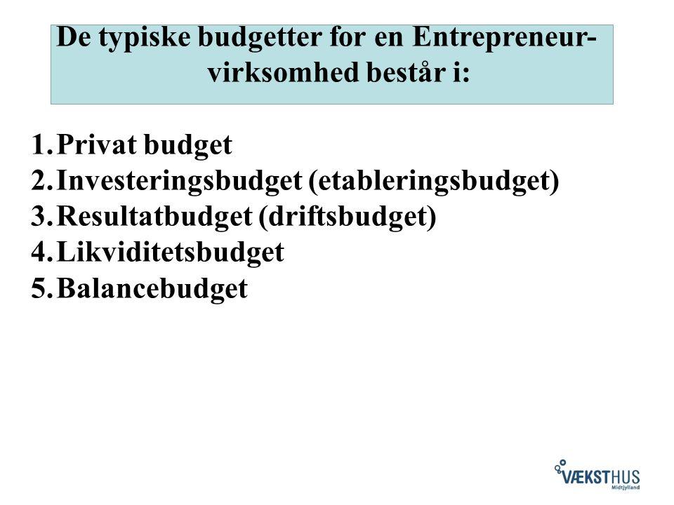 De typiske budgetter for en Entrepreneur- virksomhed består i: 1.Privat budget 2.Investeringsbudget (etableringsbudget) 3.Resultatbudget (driftsbudget) 4.Likviditetsbudget 5.Balancebudget