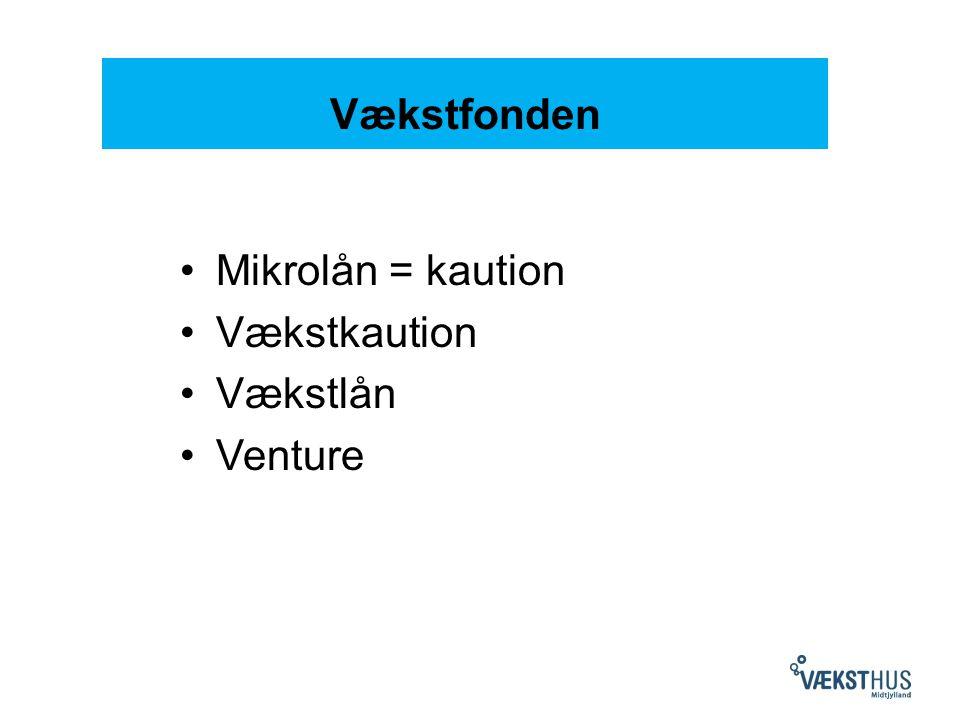 Vækstfonden Mikrolån = kaution Vækstkaution Vækstlån Venture