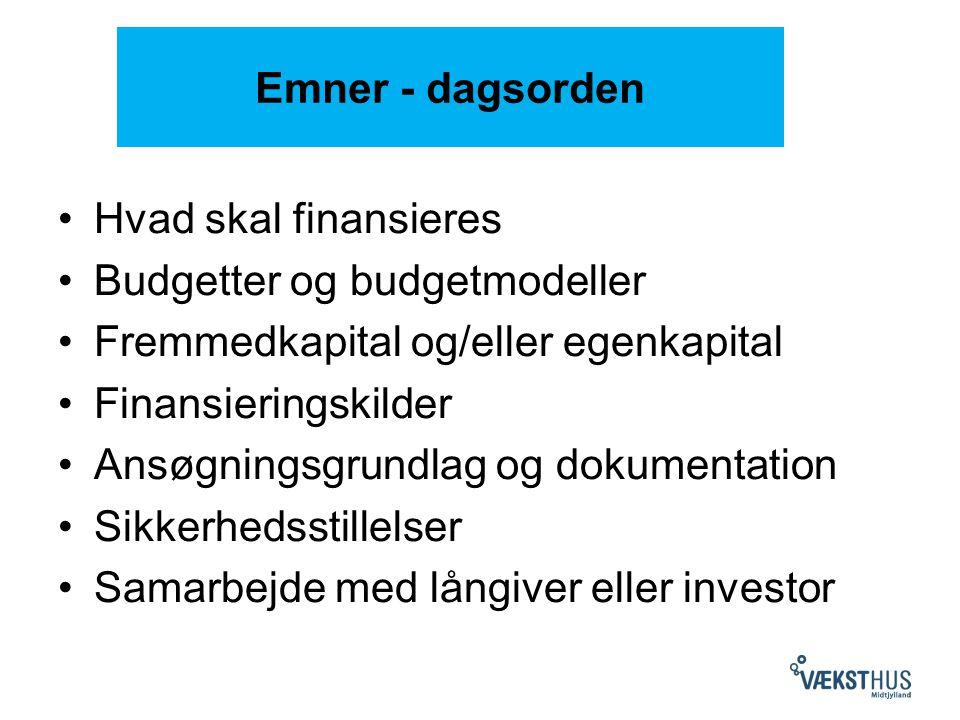 Emner - dagsorden Hvad skal finansieres Budgetter og budgetmodeller Fremmedkapital og/eller egenkapital Finansieringskilder Ansøgningsgrundlag og dokumentation Sikkerhedsstillelser Samarbejde med långiver eller investor