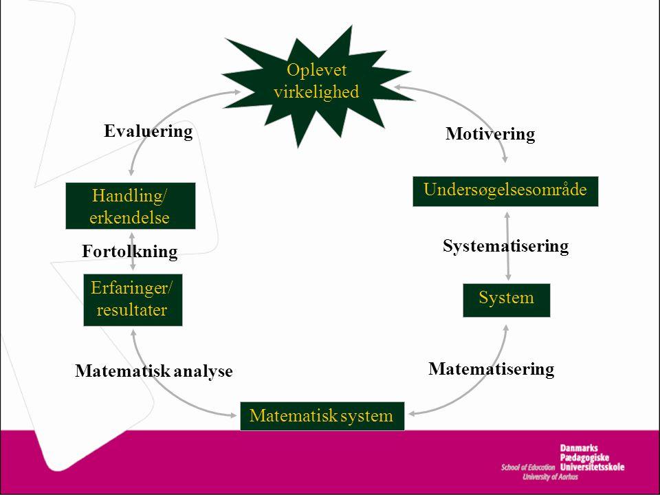 Oplevet virkelighed Undersøgelsesområde System Matematisk system Erfaringer/ resultater Motivering Systematisering Matematisering Matematisk analyse Fortolkning Evaluering Handling/ erkendelse