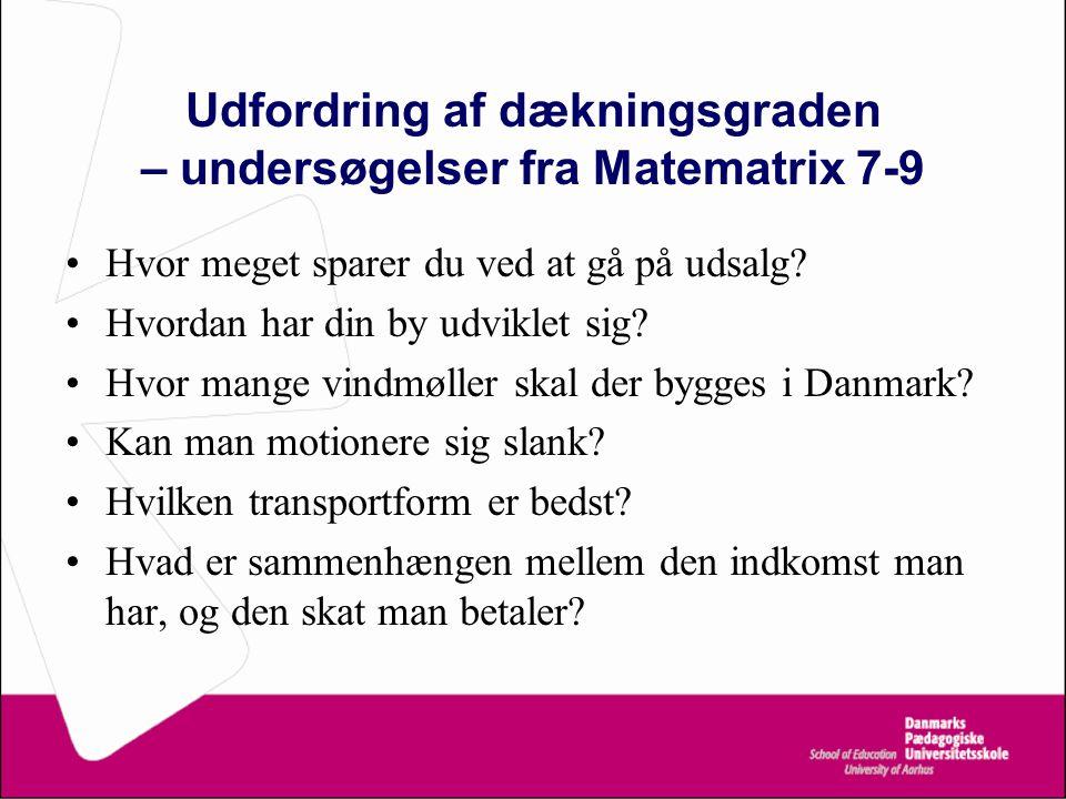 Udfordring af dækningsgraden – undersøgelser fra Matematrix 7-9 Hvor meget sparer du ved at gå på udsalg.