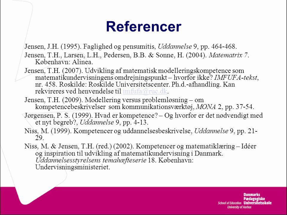 Referencer Jensen, J.H. (1995). Faglighed og pensumitis, Uddannelse 9, pp.