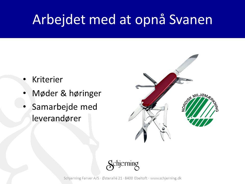 Schjerning Farver A/S · Østerallé 21 · 8400 Ebeltoft · www.schjerning.dk Arbejdet med at opnå Svanen Kriterier Møder & høringer Samarbejde med leverandører