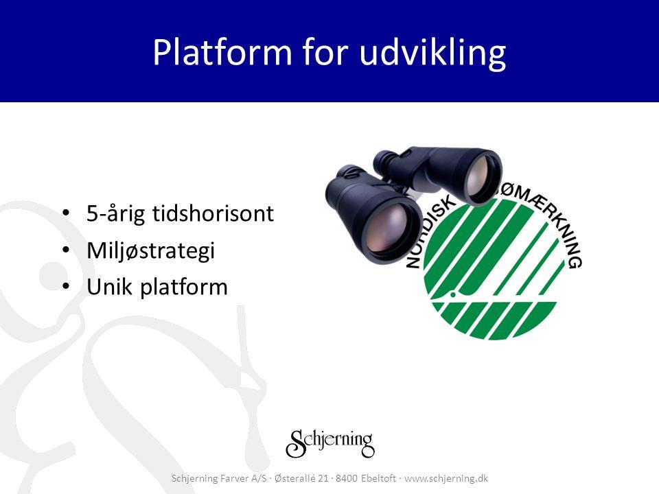 Schjerning Farver A/S · Østerallé 21 · 8400 Ebeltoft · www.schjerning.dk Platform for udvikling 5-årig tidshorisont Miljøstrategi Unik platform