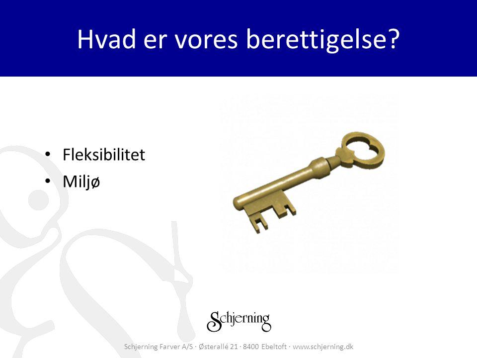 Schjerning Farver A/S · Østerallé 21 · 8400 Ebeltoft · www.schjerning.dk Hvad er vores berettigelse.
