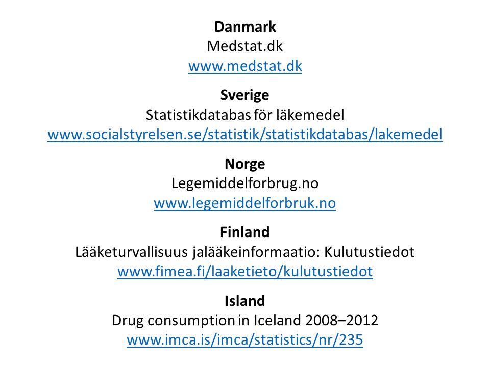 Danmark Medstat.dk www.medstat.dk www.medstat.dk Sverige Statistikdatabas för läkemedel www.socialstyrelsen.se/statistik/statistikdatabas/lakemedel www.socialstyrelsen.se/statistik/statistikdatabas/lakemedel Norge Legemiddelforbrug.no www.legemiddelforbruk.no www.legemiddelforbruk.no Finland Lääketurvallisuus jalääkeinformaatio: Kulutustiedot www.fimea.fi/laaketieto/kulutustiedot www.fimea.fi/laaketieto/kulutustiedot Island Drug consumption in Iceland 2008–2012 www.imca.is/imca/statistics/nr/235 www.imca.is/imca/statistics/nr/235