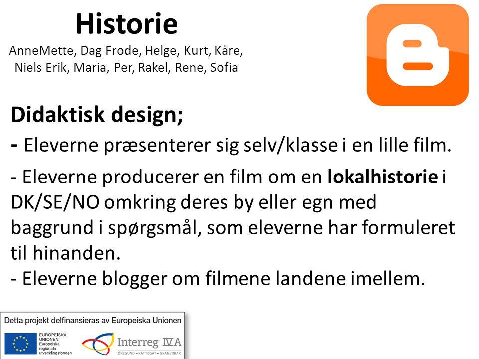 Historie AnneMette, Dag Frode, Helge, Kurt, Kåre, Niels Erik, Maria, Per, Rakel, Rene, Sofia Didaktisk design; - Eleverne præsenterer sig selv/klasse i en lille film.