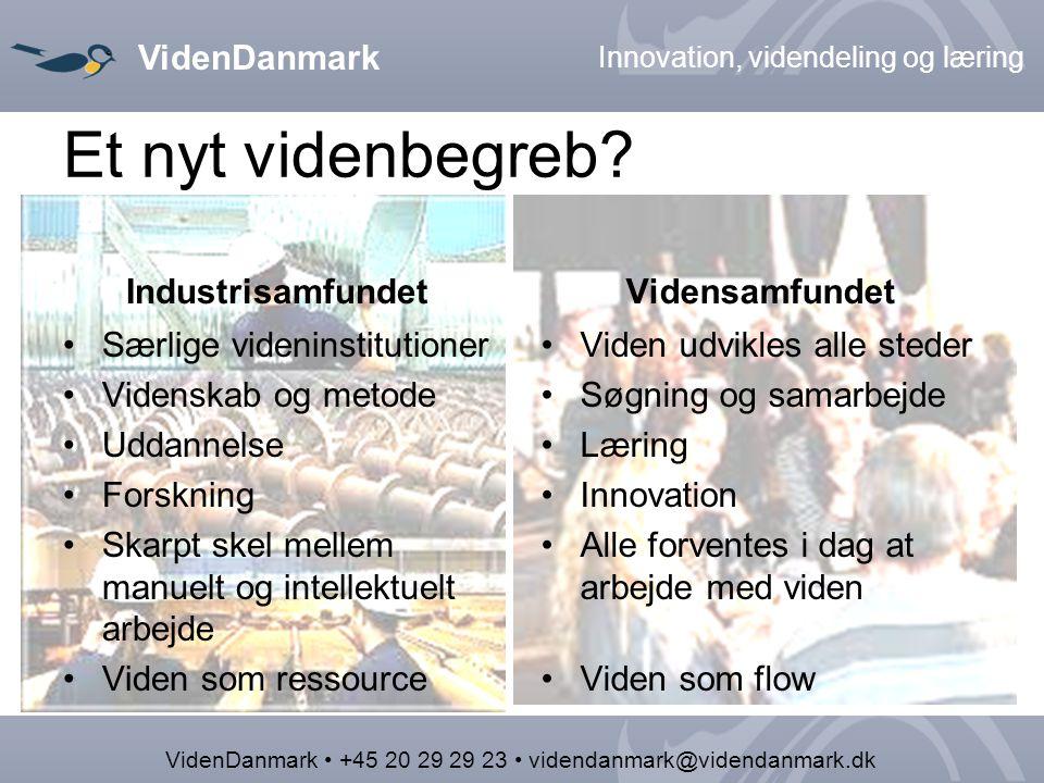 VidenDanmark Innovation, videndeling og læring VidenDanmark +45 20 29 29 23 videndanmark@videndanmark.dk Et nyt videnbegreb.