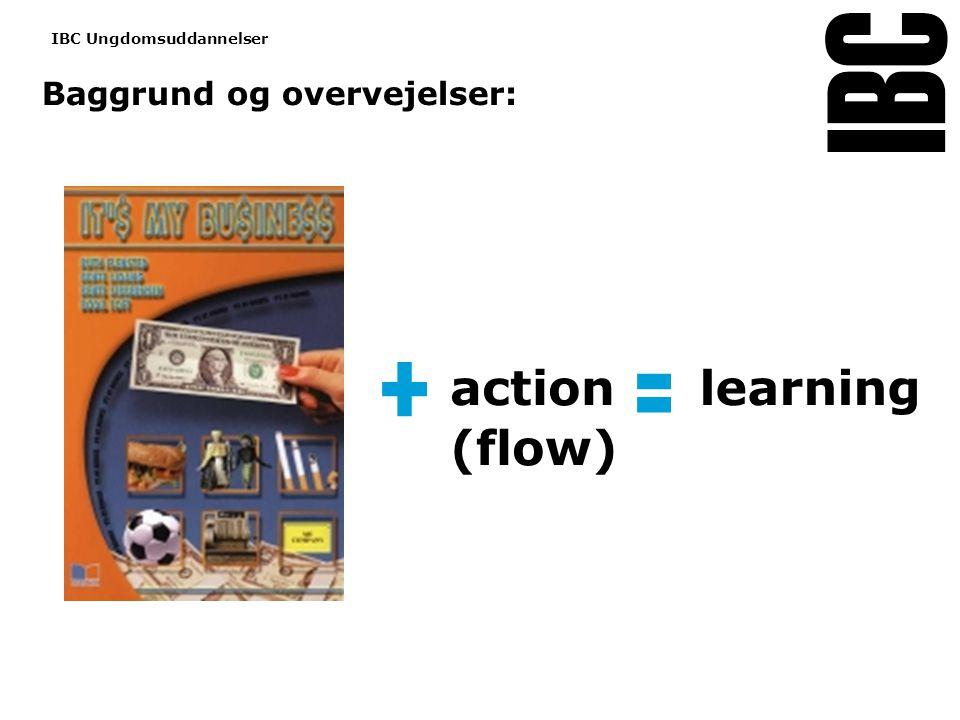 Tekstslide med bullets Brug 'Forøge / Formindske indryk' for at skifte mellem de forskellige niveauer Baggrund og overvejelser: www.ibc.dk IBC Ungdomsuddannelser action (flow) learning