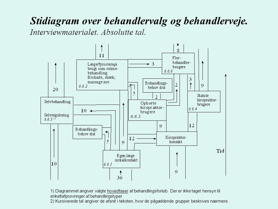 Stidiagram over behandlervalg og behandlerveje. Interviewmaterialet.