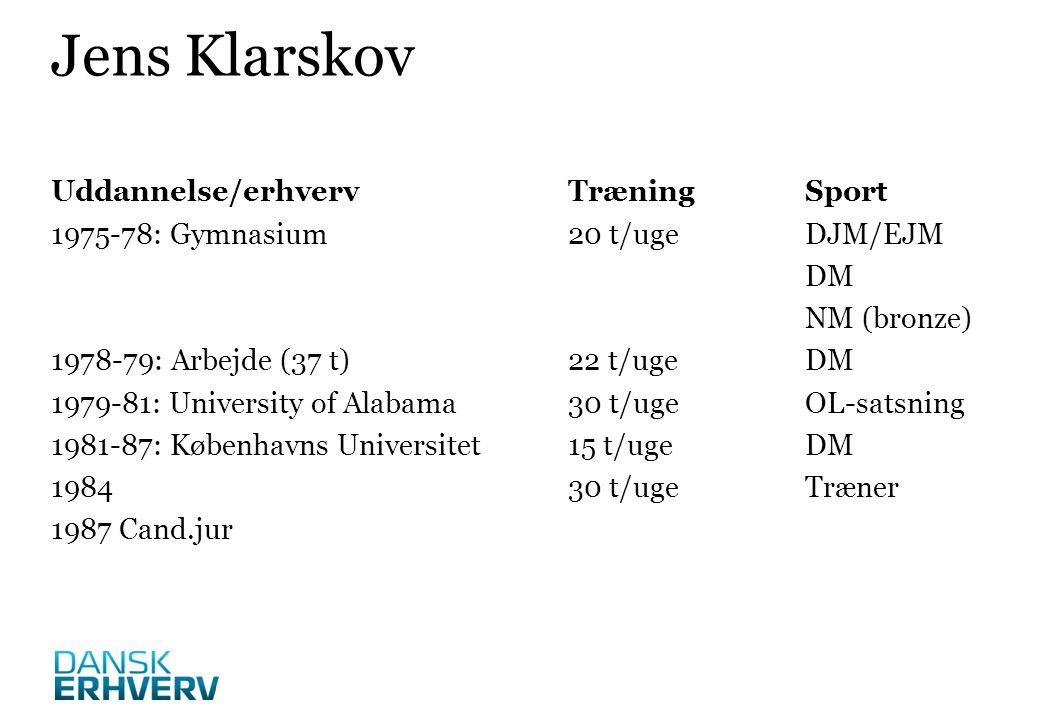 Uddannelse/erhvervTræningSport 1975-78: Gymnasium20 t/ugeDJM/EJM DM NM (bronze) 1978-79: Arbejde (37 t)22 t/ugeDM 1979-81: University of Alabama30 t/ugeOL-satsning 1981-87: Københavns Universitet15 t/ugeDM 198430 t/ugeTræner 1987 Cand.jur