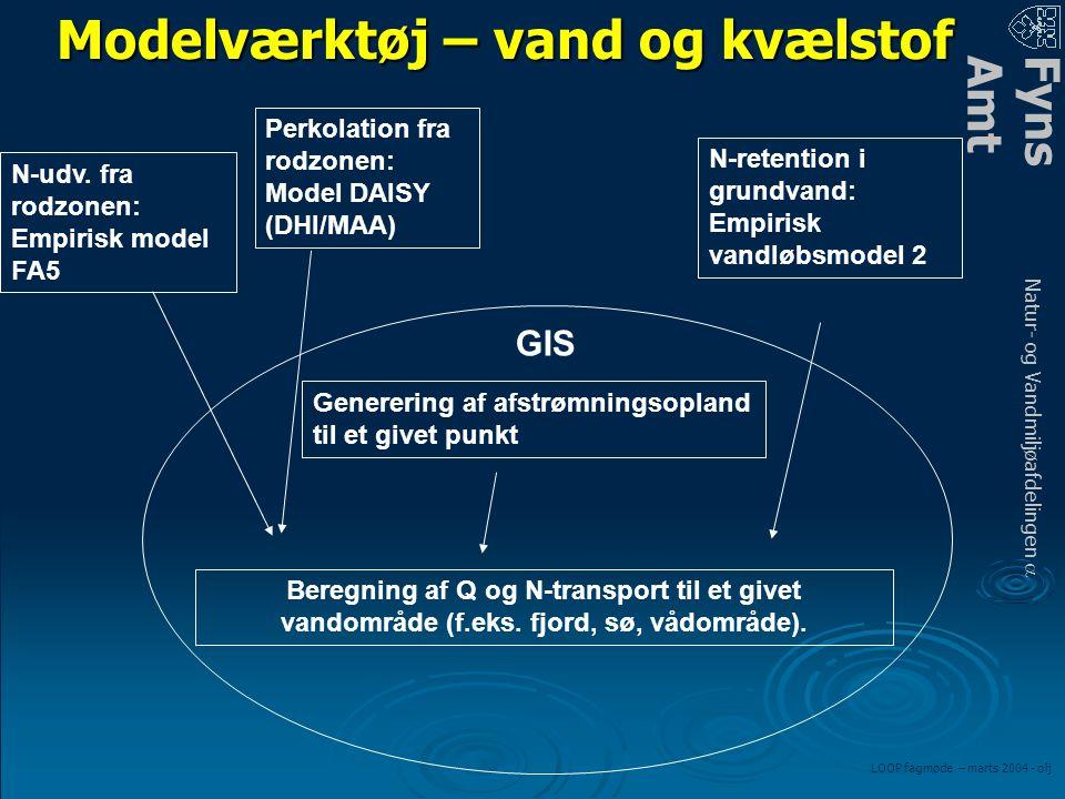 FynsAmt Natur- og Vandmiljøafdelingen a LOOP fagmøde – marts 2004 - olj Modelværktøj – vand og kvælstof N-retention i grundvand: Empirisk vandløbsmodel 2 N-udv.