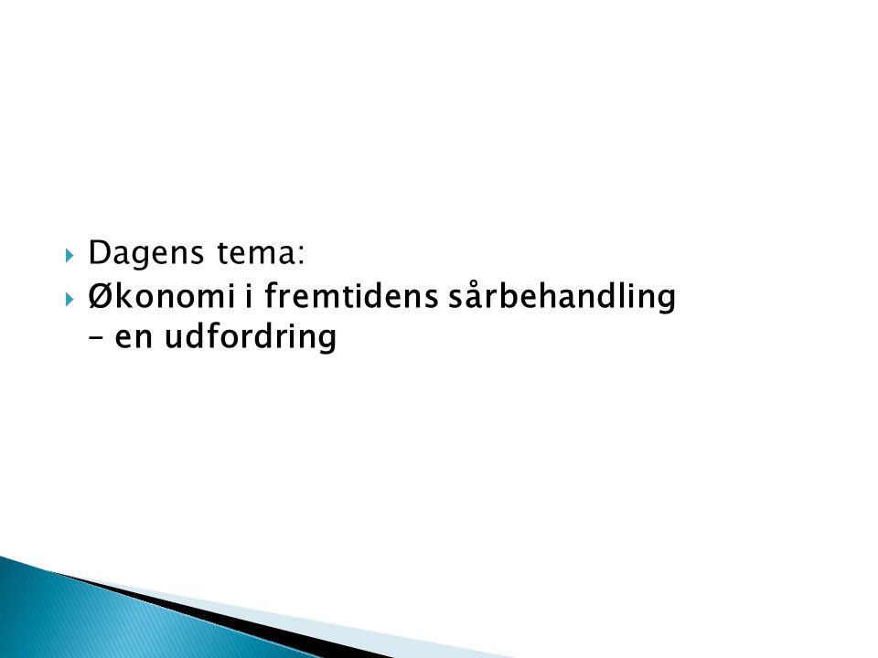  Dagens tema:  Økonomi i fremtidens sårbehandling – en udfordring
