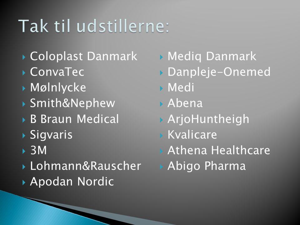  Coloplast Danmark  ConvaTec  Mølnlycke  Smith&Nephew  B Braun Medical  Sigvaris  3M  Lohmann&Rauscher  Apodan Nordic  Mediq Danmark  Danpleje-Onemed  Medi  Abena  ArjoHuntheigh  Kvalicare  Athena Healthcare  Abigo Pharma