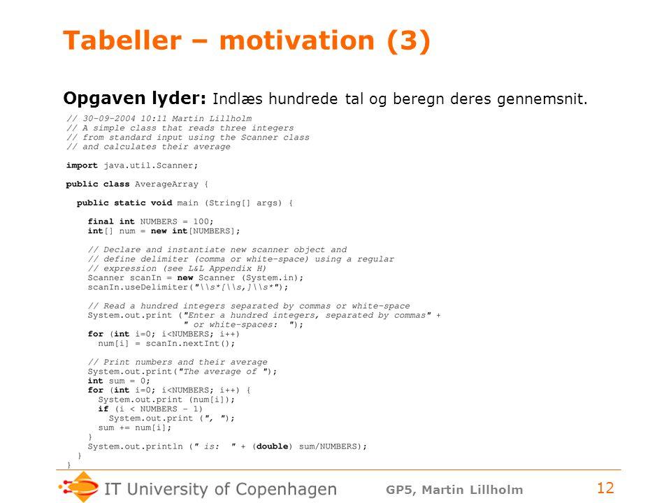 GP5, Martin Lillholm 12 Tabeller – motivation (3) Opgaven lyder: Indlæs hundrede tal og beregn deres gennemsnit.