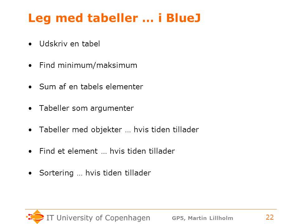 GP5, Martin Lillholm 22 Leg med tabeller … i BlueJ Udskriv en tabel Find minimum/maksimum Sum af en tabels elementer Tabeller som argumenter Tabeller med objekter … hvis tiden tillader Find et element … hvis tiden tillader Sortering … hvis tiden tillader