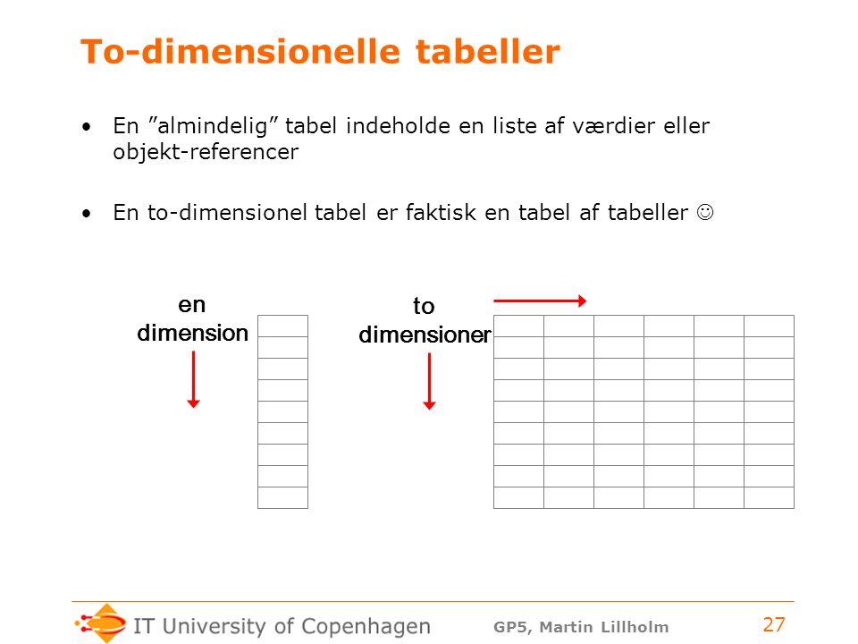 GP5, Martin Lillholm 27 To-dimensionelle tabeller En almindelig tabel indeholde en liste af værdier eller objekt-referencer En to-dimensionel tabel er faktisk en tabel af tabeller en dimension to dimensioner