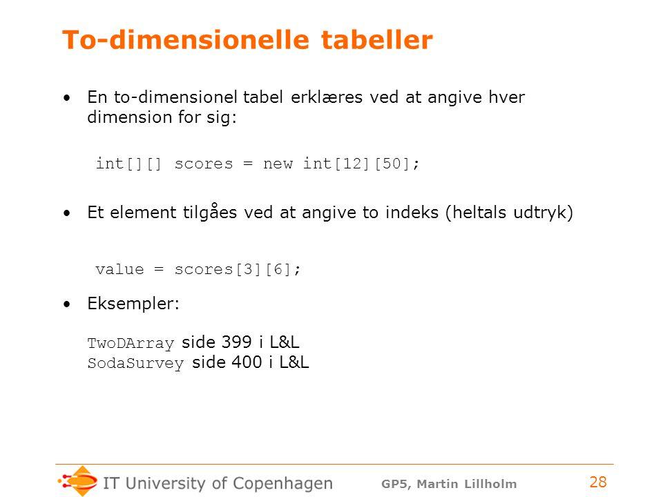 GP5, Martin Lillholm 28 To-dimensionelle tabeller En to-dimensionel tabel erklæres ved at angive hver dimension for sig: int[][] scores = new int[12][50]; Et element tilgåes ved at angive to indeks (heltals udtryk) value = scores[3][6]; Eksempler: TwoDArray side 399 i L&L SodaSurvey side 400 i L&L