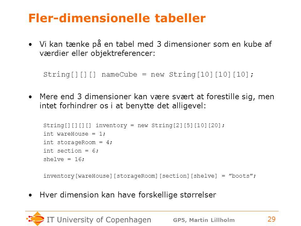 GP5, Martin Lillholm 29 Fler-dimensionelle tabeller Vi kan tænke på en tabel med 3 dimensioner som en kube af værdier eller objektreferencer: String[][][] nameCube = new String[10][10][10]; Mere end 3 dimensioner kan være svært at forestille sig, men intet forhindrer os i at benytte det alligevel: String[][][][] inventory = new String[2][5][10][20]; int wareHouse = 1; int storageRoom = 4; int section = 6; shelve = 16; inventory[wareHouse][storageRoom][section][shelve] = boots ; Hver dimension kan have forskellige størrelser