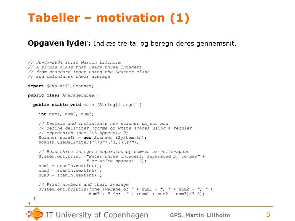 GP5, Martin Lillholm 5 Tabeller – motivation (1) Opgaven lyder: Indlæs tre tal og beregn deres gennemsnit.