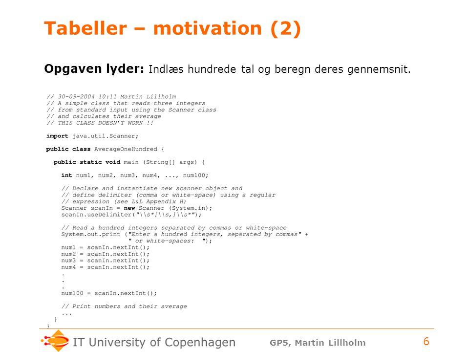 GP5, Martin Lillholm 6 Tabeller – motivation (2) Opgaven lyder: Indlæs hundrede tal og beregn deres gennemsnit.