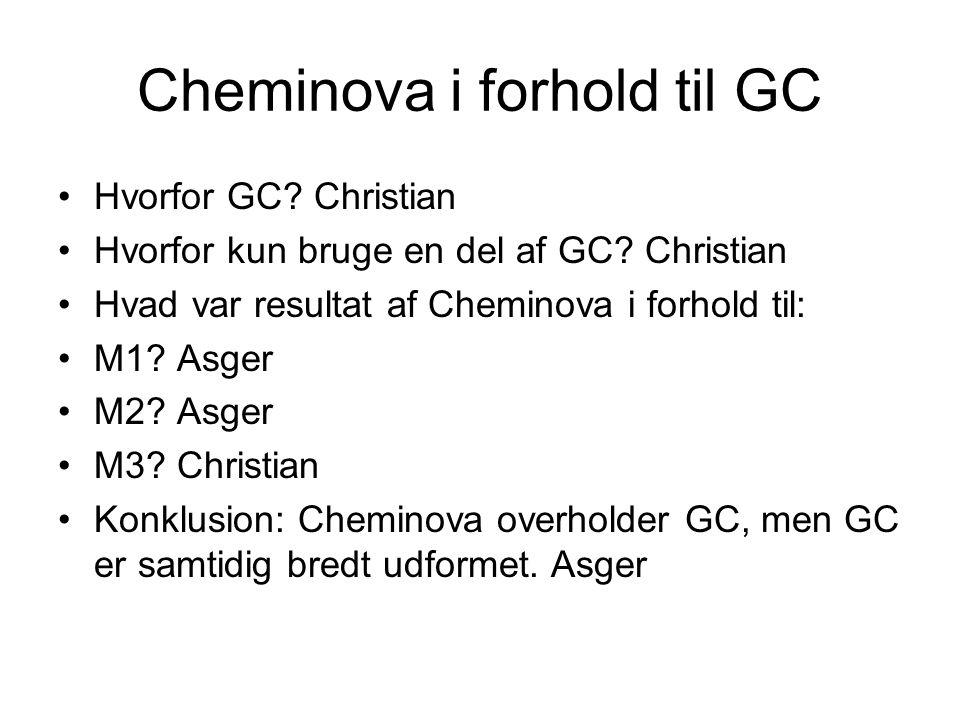 Cheminova i forhold til GC Hvorfor GC. Christian Hvorfor kun bruge en del af GC.