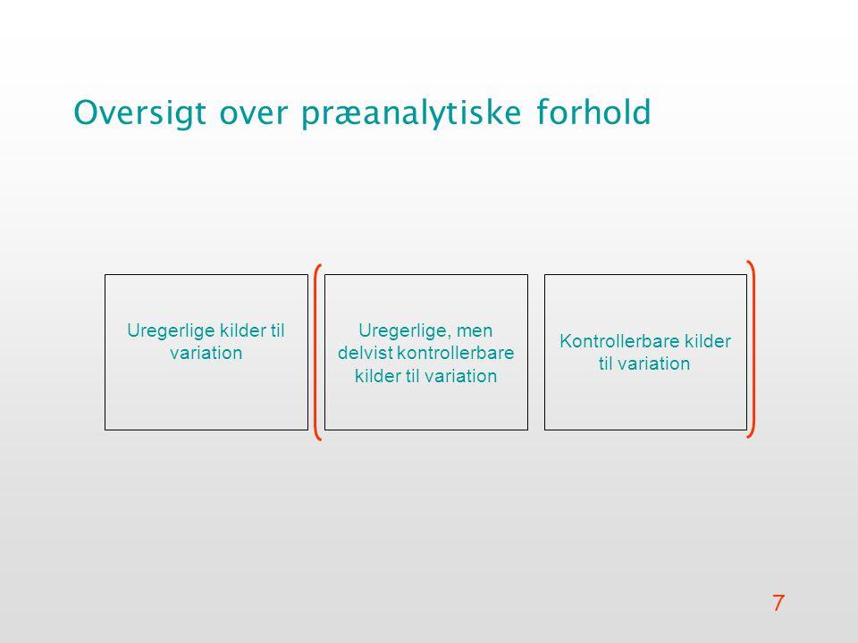 7 Oversigt over præanalytiske forhold Uregerlige kilder til variation Uregerlige, men delvist kontrollerbare kilder til variation Kontrollerbare kilder til variation