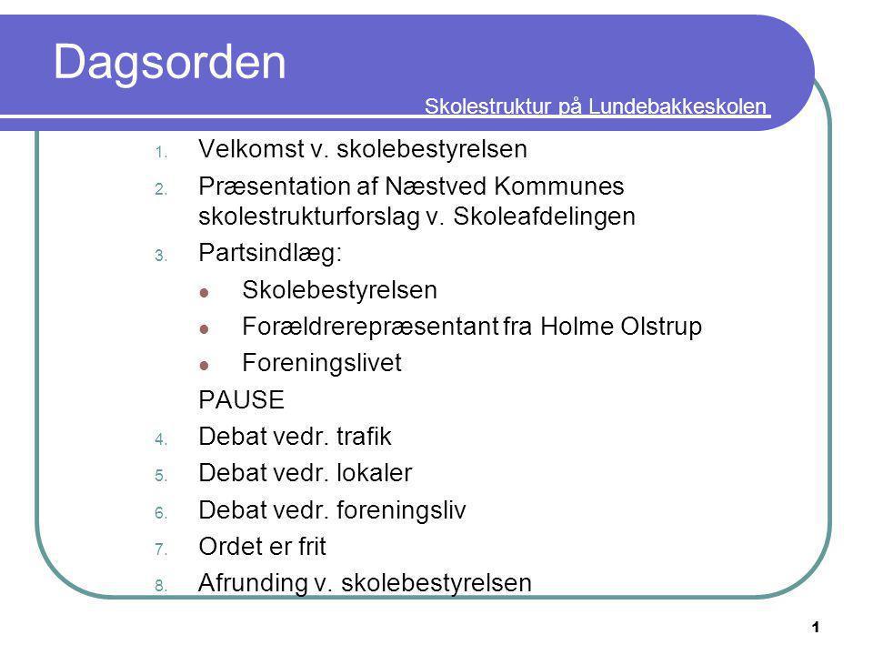 Skolestruktur på Lundebakkeskolen Dagsorden 1. Velkomst v.