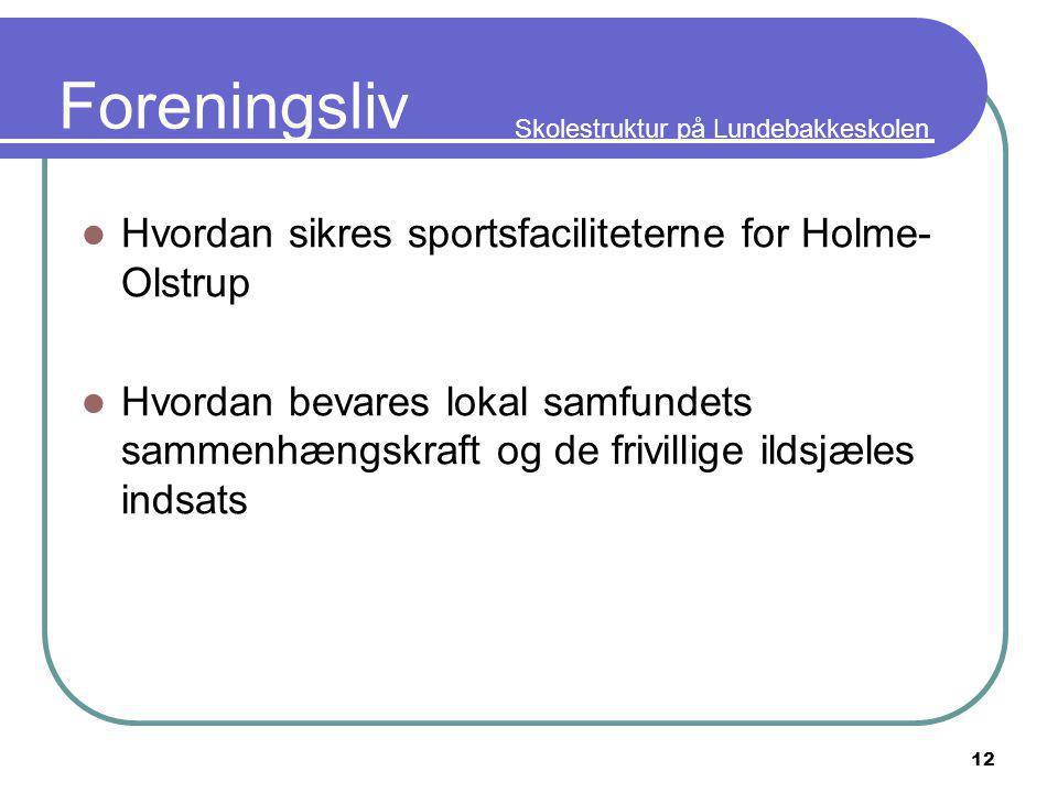 Skolestruktur på Lundebakkeskolen 12 Foreningsliv Hvordan sikres sportsfaciliteterne for Holme- Olstrup Hvordan bevares lokal samfundets sammenhængskraft og de frivillige ildsjæles indsats