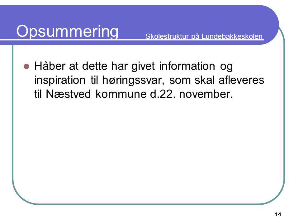 Skolestruktur på Lundebakkeskolen 14 Opsummering Håber at dette har givet information og inspiration til høringssvar, som skal afleveres til Næstved kommune d.22.