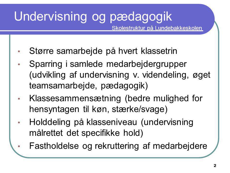 Skolestruktur på Lundebakkeskolen Undervisning og pædagogik Større samarbejde på hvert klassetrin Sparring i samlede medarbejdergrupper (udvikling af undervisning v.