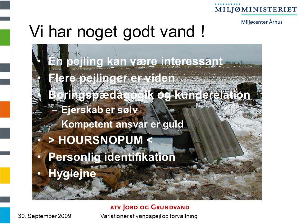 30. September 2009Variationer af vandspejl og forvaltning Vi har noget godt vand .