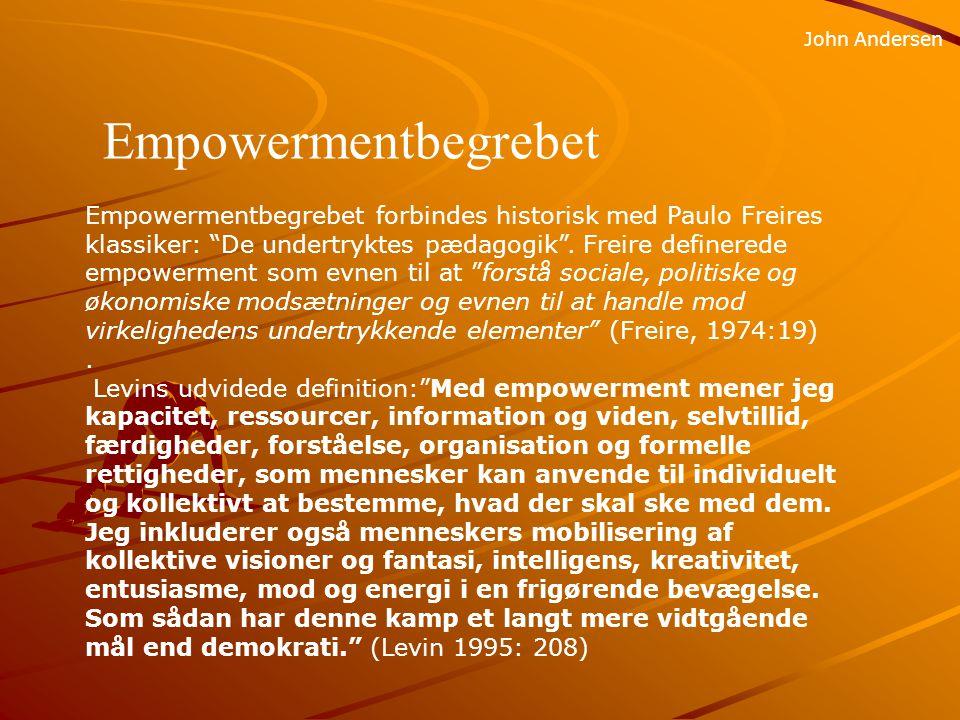 SLIB John Andersen Horisontal empowerment handler om at nedbryde fjendedebilleder indadtil mellem forskellige grupper, fordomme, passivitet og manglende tro på fremtiden, og at udvikle evnen til at mobilisere for forandring.