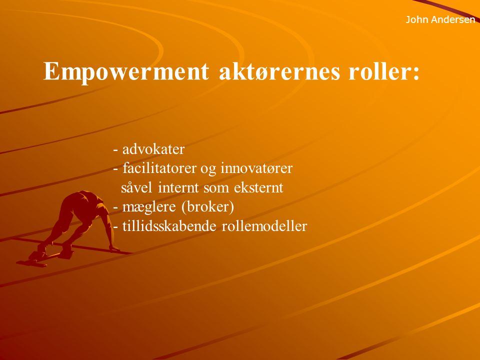Empowerment aktørernes roller: John Andersen - advokater - facilitatorer og innovatører såvel internt som eksternt - mæglere (broker) - tillidsskabende rollemodeller
