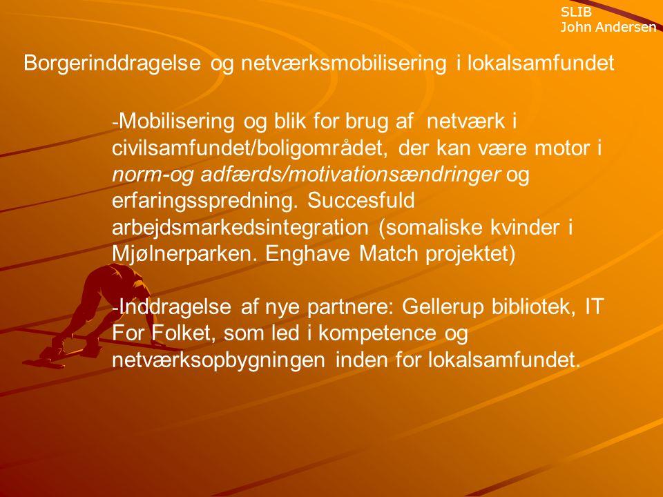 - Mobilisering og blik for brug af netværk i civilsamfundet/boligområdet, der kan være motor i norm-og adfærds/motivationsændringer og erfaringsspredning.
