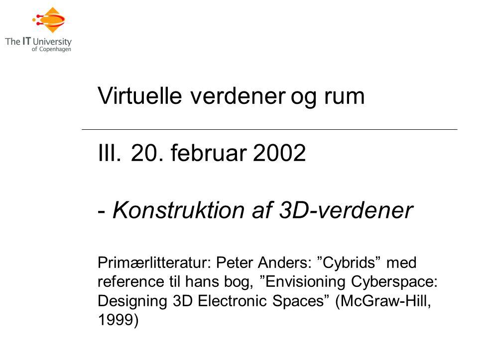 Virtuelle verdener og rum III. 20.