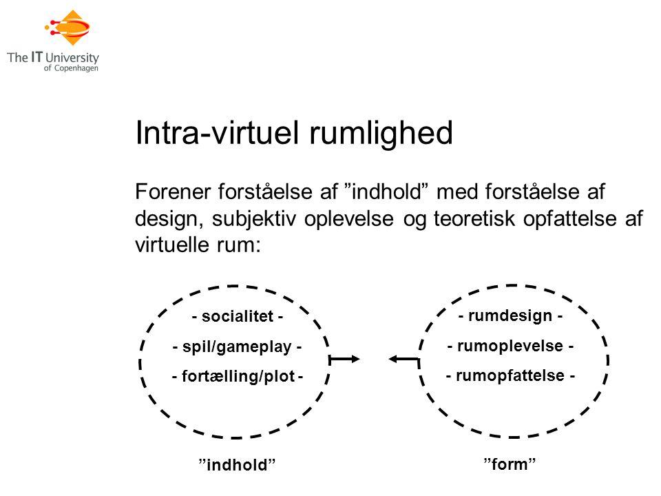 Intra-virtuel rumlighed Forener forståelse af indhold med forståelse af design, subjektiv oplevelse og teoretisk opfattelse af virtuelle rum: - socialitet - - spil/gameplay - - fortælling/plot - indhold - rumdesign - - rumoplevelse - - rumopfattelse - form