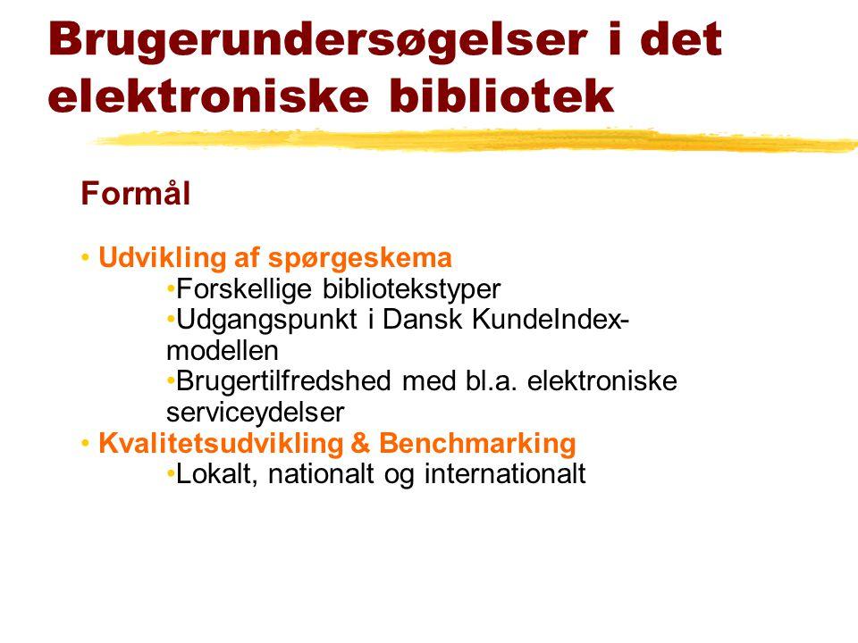Formål Udvikling af spørgeskema Forskellige bibliotekstyper Udgangspunkt i Dansk KundeIndex- modellen Brugertilfredshed med bl.a.