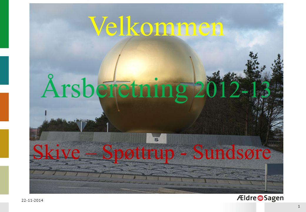22-11-2014 1 Velkommen Årsberetning 2012-13 Skive – Spøttrup - Sundsøre