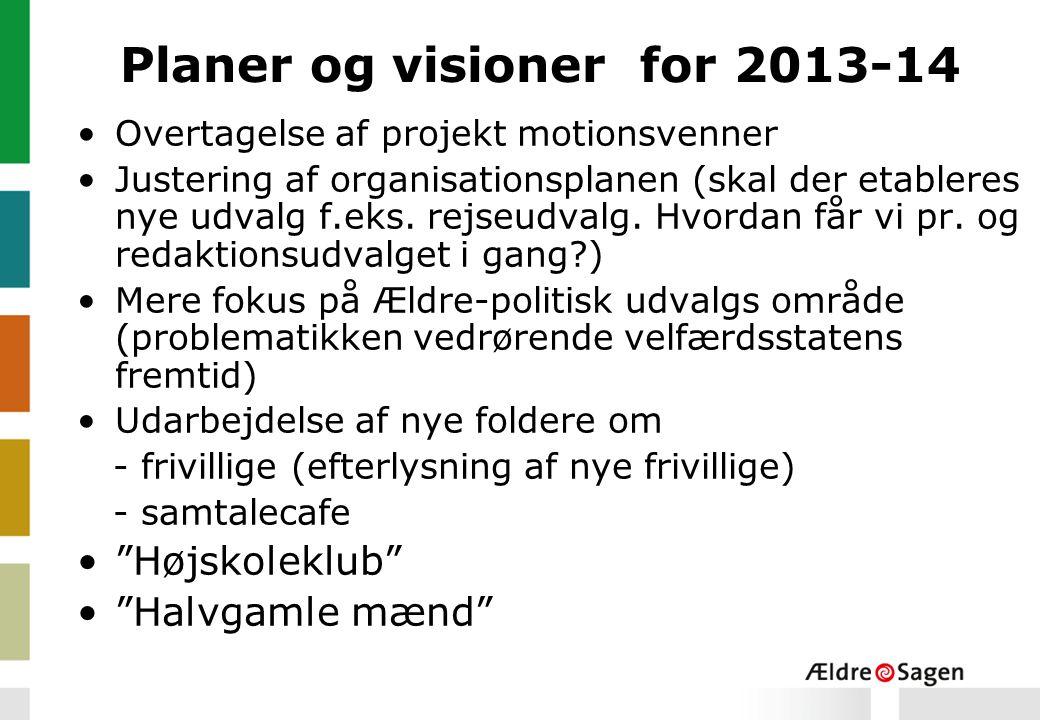 Planer og visioner for 2013-14 Overtagelse af projekt motionsvenner Justering af organisationsplanen (skal der etableres nye udvalg f.eks.