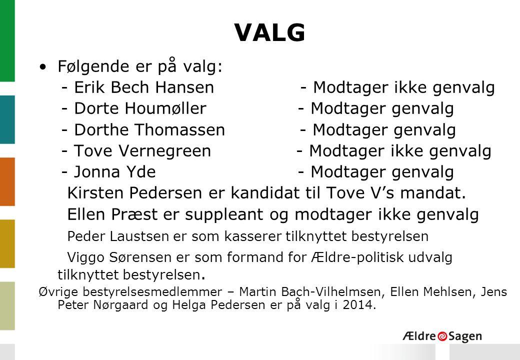 VALG Følgende er på valg: - Erik Bech Hansen - Modtager ikke genvalg - Dorte Houmøller - Modtager genvalg - Dorthe Thomassen - Modtager genvalg - Tove Vernegreen - Modtager ikke genvalg - Jonna Yde - Modtager genvalg Kirsten Pedersen er kandidat til Tove V's mandat.