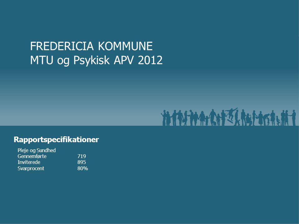 Pleje og Sundhed Gennemførte719 Inviterede895 Svarprocent80% FREDERICIA KOMMUNE MTU og Psykisk APV 2012 Rapportspecifikationer